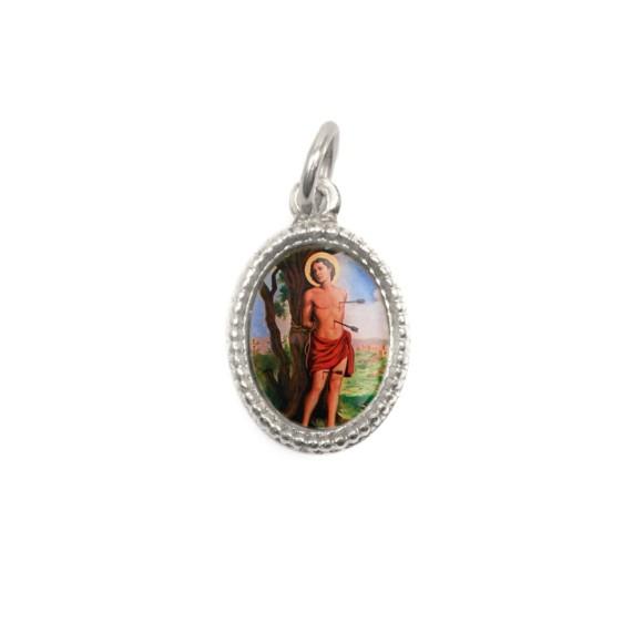 MD102518P20 - Medalha de Alumínio Oval Prata c/ 20un. São Sebastião - 1,5x1cm