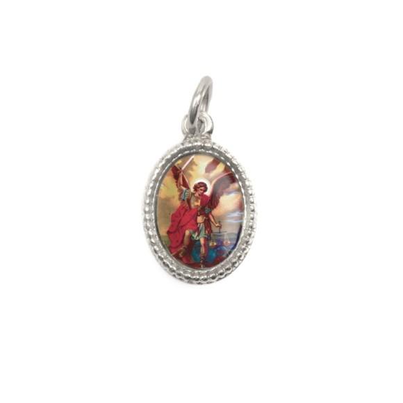 MD102606P20 - Medalha de Alumínio Oval Prata c/ 20un. São Miguel Arcanjo - 1,5x1cm