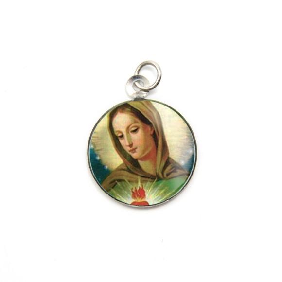 MD105001P3 - Medalha de Alumínio Redonda c/ 3un. Chama do Amor - 2,5x2cm