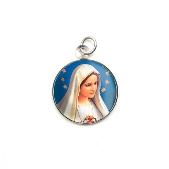 MD105002P3 - Medalha de Alumínio Redonda c/ 3un. Imaculado Coração de Maria - 2,5x2cm