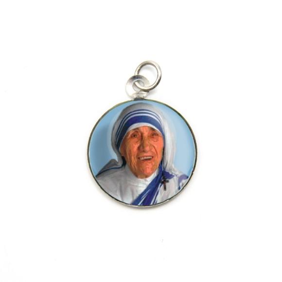 MD105004P3 - Medalha de Alumínio Redonda  c/ 3un. Madre Teresa de Caltutá - 2,5x2cm