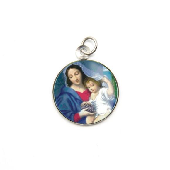 MD105010P3 - Medalha de Alumínio Redonda c/ 3un. N. Sra. Da Divina Providência - 2,5x2cm