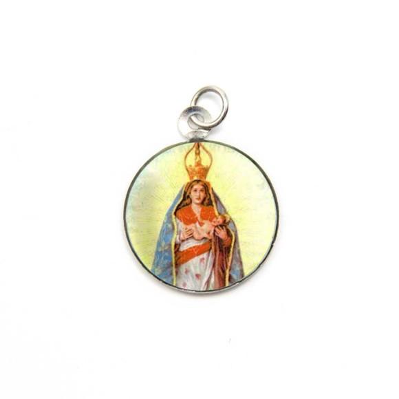 MD105014P3 - Medalha de Alumínio Redonda c/ 3un. N. Sra. D'Abadia - 2,5x2cm