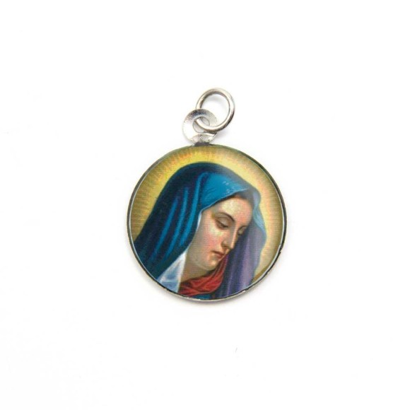 MD105015P3 - Medalha de Alumínio Redonda c/ 3un. N. Sra. Das Dores - 2,5x2cm