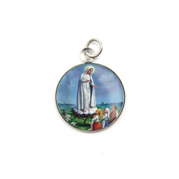 MD105017P3 - Medalha de Alumínio Redonda c/ 3un. N. Sra. De Fátima - 2,5x2cm