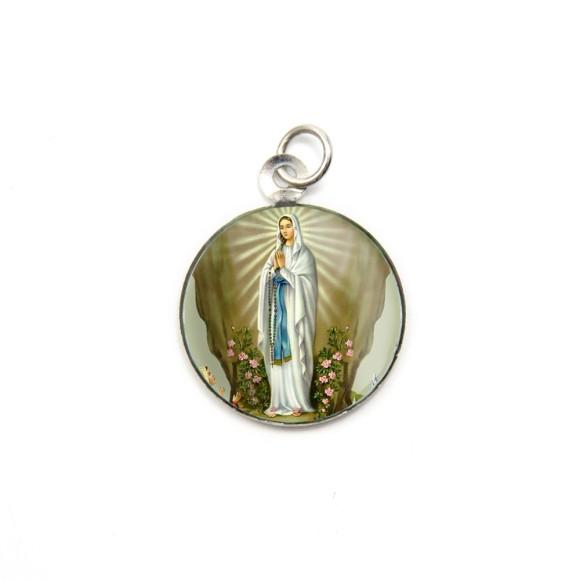 MD105019P3 - Medalha de Alumínio Redonda c/ 3un. N. Sra. De Lourdes - 2,5x2cm