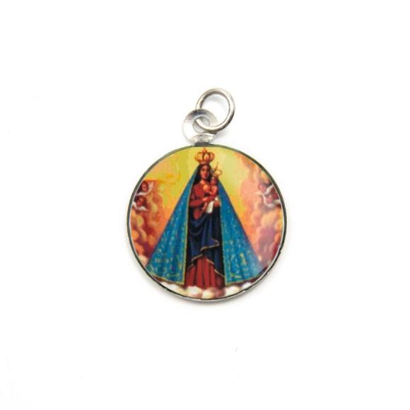 MD105020P3 - Medalha de Alumínio Redonda c/ 3un. N. Sra. De Nazaré - 2,5x2cm
