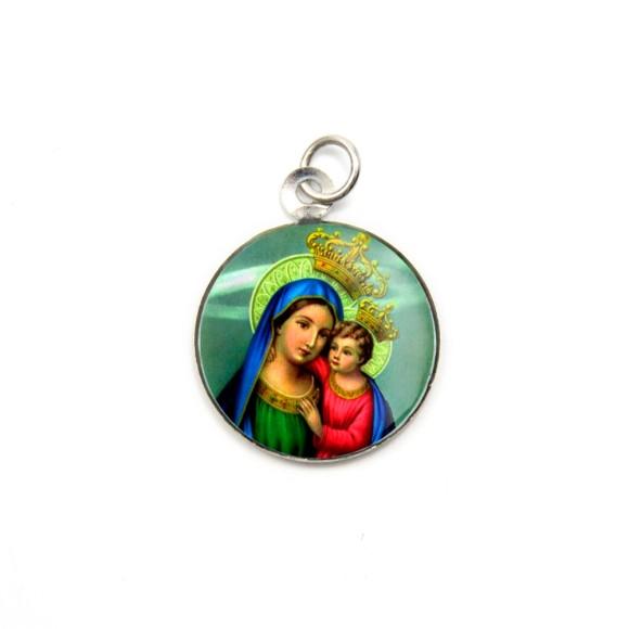 MD105023P3 - Medalha de Alumínio Redonda c/ 3un. N. Sra. Do Bom Conselho - 2,5x2cm