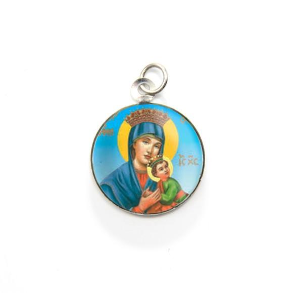 MD105029P3 - Medalha de Alumínio Redonda c/ 3un. N. Sra. Do Perpétuo Socorro - 2,5x2cm