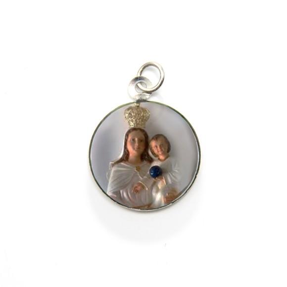 MD105032P3 - Medalha de Alumínio Redonda c/ 3un. N. Sra. Dos Aflitos - 2,5x2cm