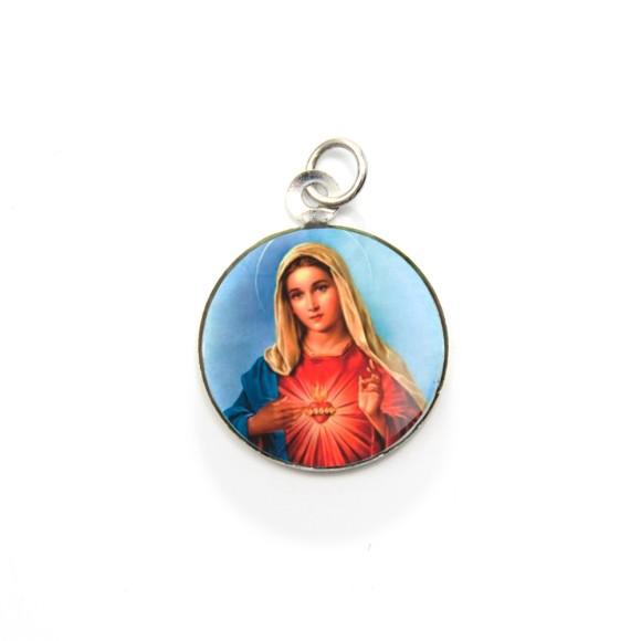 MD105036P3 - Medalha de Alumínio Redonda c/ 3un. Sagrado Coração de Maria - 2,5x2cm