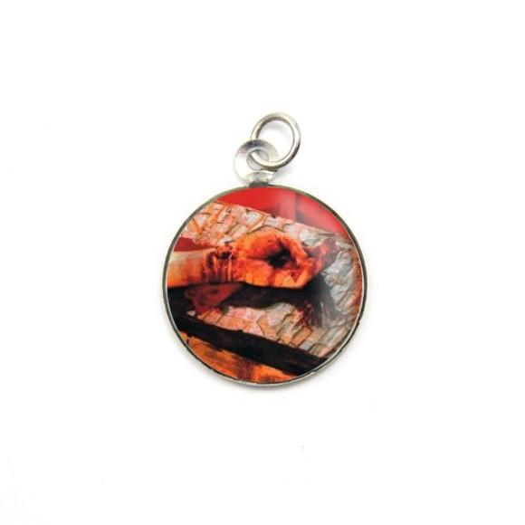 MD105203P3 - Medalha de Alumínio Redonda c/ 3un. Mãos Ensaguentadas de Jesus - 2,5x2cm