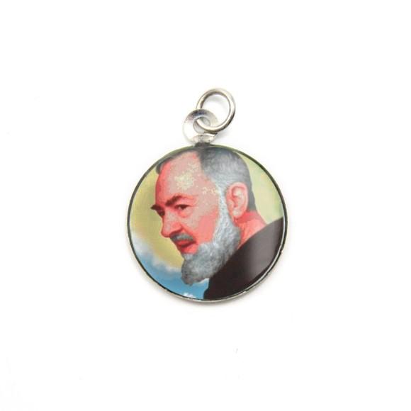 MD105205P3 - Medalha São Padre Pio de Pietrelcina Alumínio Redonda c/ 3un. - 2,5x2cm