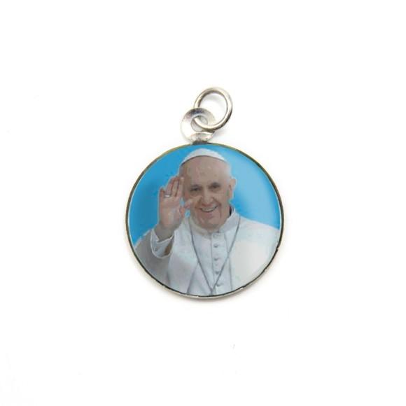 MD105206P3 - Medalha de Alumínio Redonda c/ 3un. Papa Francisco - 2,5x2cm
