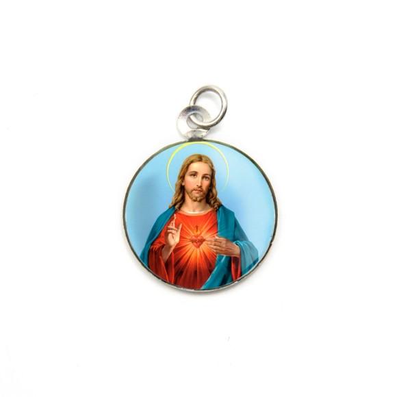 MD105207P3 - Medalha de Alumínio Redonda c/ 3un. Sagrado Coração de Jesus - 2,5x2cm