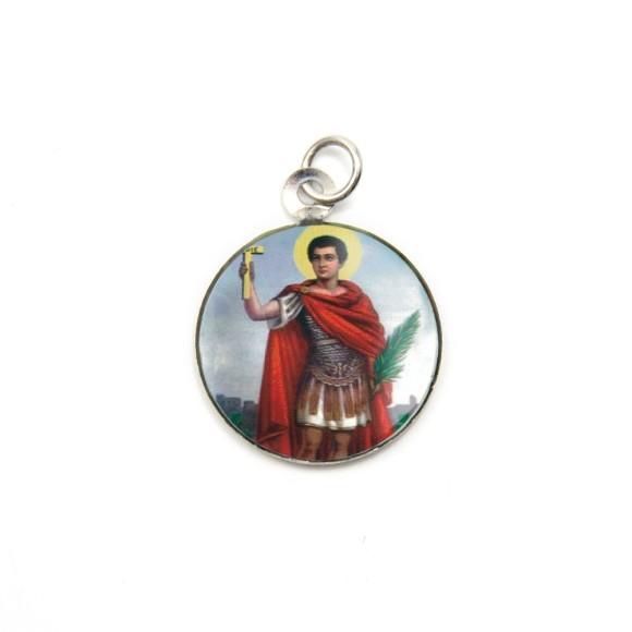 MD105210P3 - Medalha de Alumínio Redonda c/ 3un. Santo Expedito - 2,5x2cm