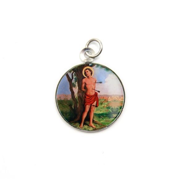 MD105223P3 - Medalha de Alumínio Redonda c/ 3un. São Sebastião - 2,5x2cm
