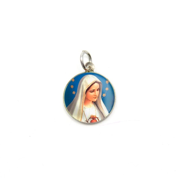MD104002P5 - Medalha de Alumínio Redonda c/ 5un. Imaculado Coração de Maria - 1,5x1,5cm
