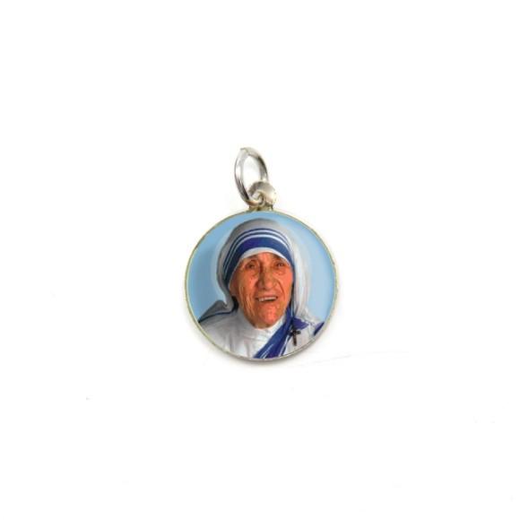 MD104004P5 - Medalha de Alumínio Redonda c/ 5un. Madre Teresa de Calcutá - 1,5x1,5cm