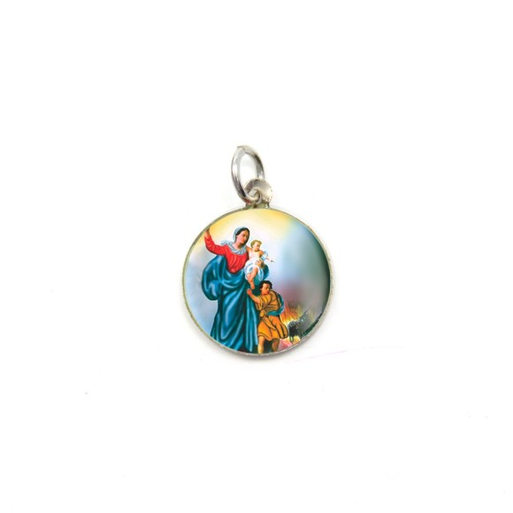 MD104010P5 - Medalha de Alumínio Redonda c/ 5un. N. Sra. Da Defesa - 1,5x1,5cm