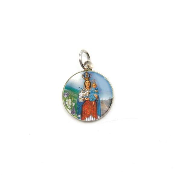 MD104014P5 - Medalha de Alumínio Redonda c/ 5un. N. Sra. Da Penha - 1,5x1,5cm