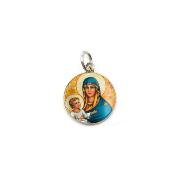 MD104016P5 - Medalha de Alumínio Redonda c/ 5un. N. Sra. Da Saúde - 1,5x1,5cm