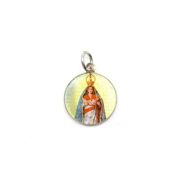 MD104017P5 - Medalha de Alumínio Redonda c/ 5un. N. Sra. D'Abadia - 1,5x1,5cm