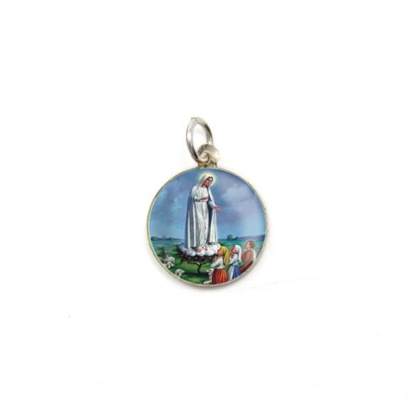 MD104020P5 - Medalha de Alumínio Redonda c/ 5un. N. Sra. De Fátima - 2,5x2cm