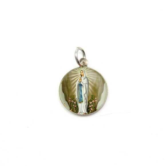 MD104022P5 - Medalha de Alumínio Redonda c/ 5un. N. Sra. De Lourdes - 1,5x1,5cm