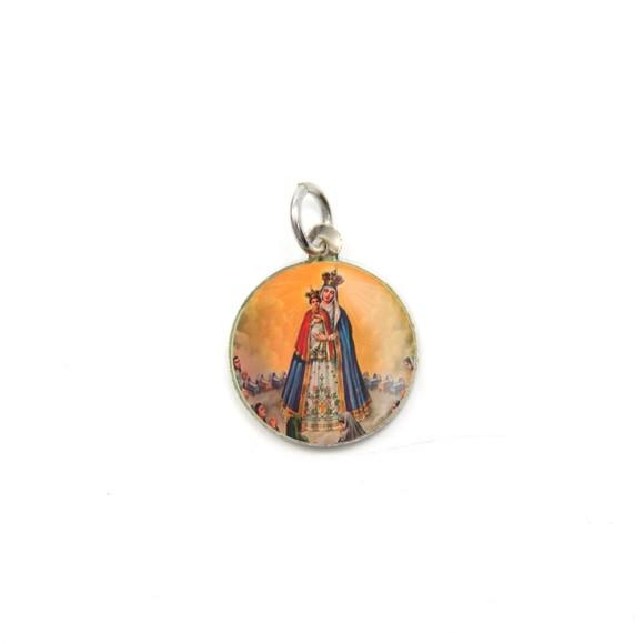 MD104027P5 - Medalha de Alumínio Redonda c/ 5un. N. Sra. Do Bom Parto - 1,5x1,5cm