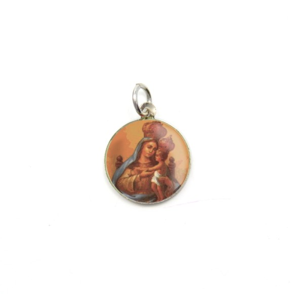 MD104030P5 - Medalha de Alumínio Redonda c/ 5un. N. Sra. Do Monte Serrat - 1,5x1,5cm