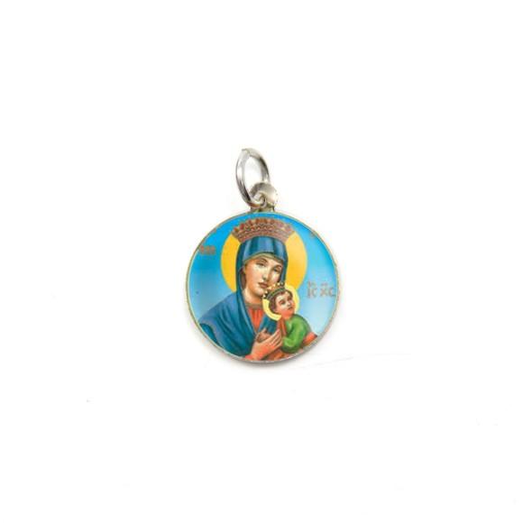 MD104031P5 - Medalha de Alumínio Redonda c/ 5un. N. Sra. Do Perpétuo Socorro - 1,5x1,5cm