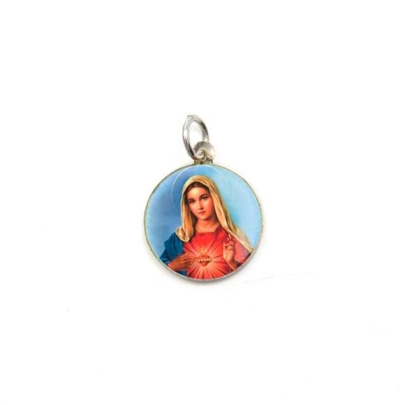 MD104036P5 - Medalha de Alumínio Redonda c/ 5un. Sagrado Coração de Maria - 1,5x1,5cm