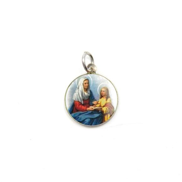 MD104037P5 - Medalha de Alumínio Redonda c/ 5un. Santa Ana - 1,5x1,5cm