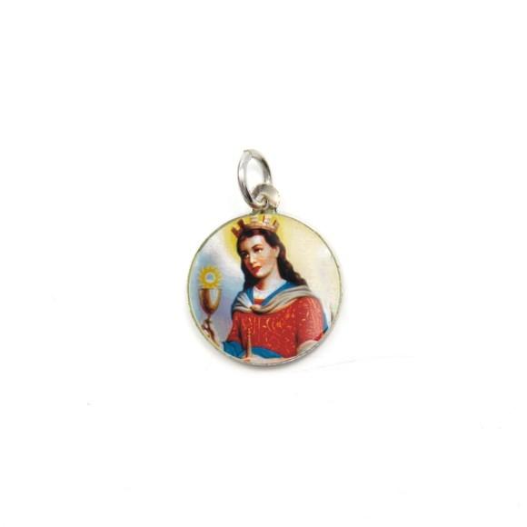 MD104039P5 - Medalha de Alumínio Redonda c/ 5un. Santa Bárbara - 1,5x1,5cm