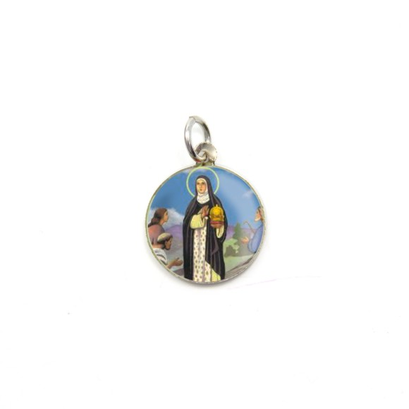 MD104041P5 - Medalha de Alumínio Redonda c/ 5un. Santa Edwiges - 1,5x1,5cm
