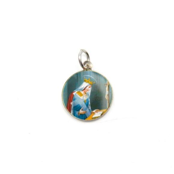 MD104045P5 - Medalha de Alumínio Redonda c/ 5un. Santa Helena - 1,5x1,5cm