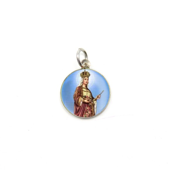 MD104046P5 - Medalha de Alumínio Redonda c/ 5un. Santa Isabel - 1,5x1,5cm