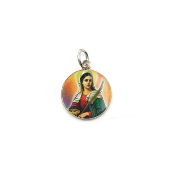 MD104049P5 - Medalha de Alumínio Redonda c/ 5un. Santa Luzia - 1,5x1,5cm