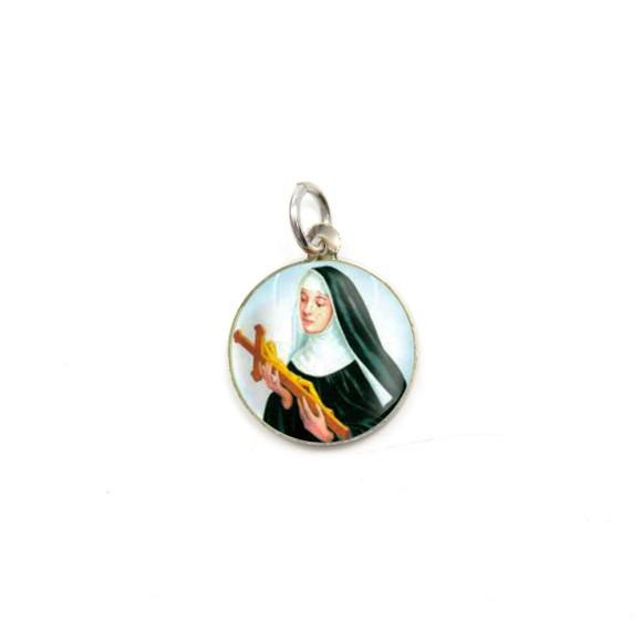 MD104054P5 - Medalha de Alumínio Redonda c/ 5un. Santa Rita de Cássia - 1,5x1,5cm
