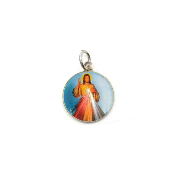 MD104202P5 - Medalha de Alumínio Redonda c/ 5un. Jesus Misericordioso - 1,5x1,5cm