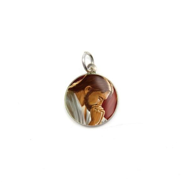 MD104203P5 - Medalha de Alumínio Redonda c/ 5un. Jesus Orando - 1,5x1,5cm