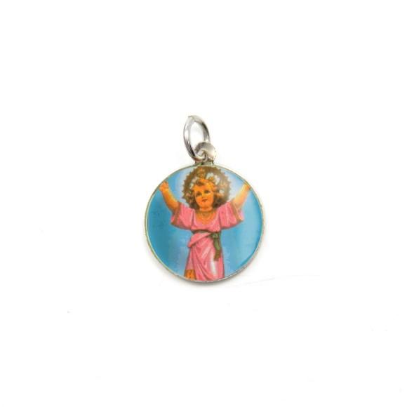 MD104205P5 - Medalha de Alumínio Redonda c/ 5un. Menino Jesus  - 1,5x1,5cm