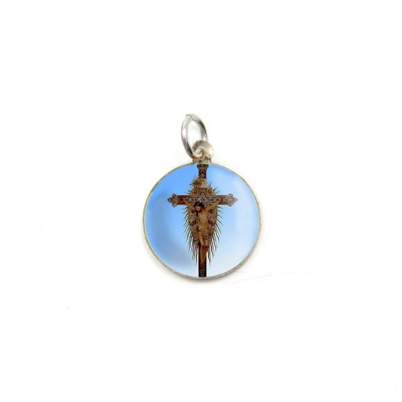 MD104207P5 - Medalha de Alumínio Redonda c/ 5un. Nosso Senhor do Bonfim - 1,5x1,5cm