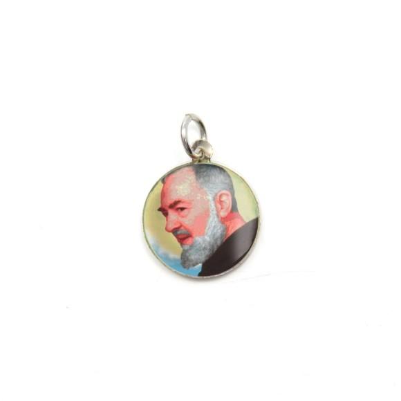 MD104210P5 - Medalha São Padre Pio de Pietrelcina Alumínio Redonda c/ 5un. - 1,5x1,5cm
