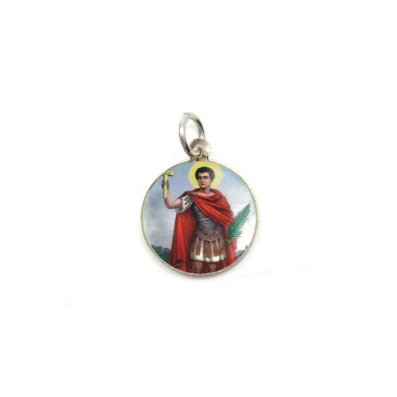 MD104214P5 - Medalha de Alumínio Redonda c/ 5un. Santo Expedito - 1,5x1,5cm