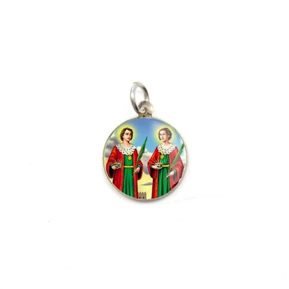MD104220P5 - Medalha de Alumínio Redonda c/ 5un. São  Cosme e Damião - 1,5x1,5cm