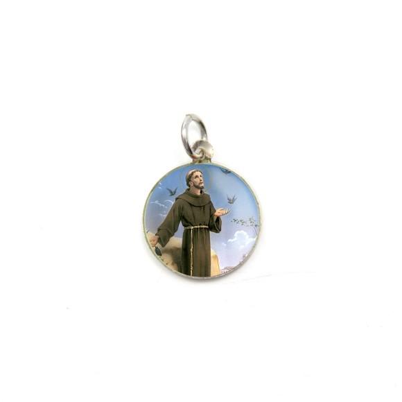 MD104223P5 - Medalha de Alumínio Redonda c/ 5un. São Francisco Assis - 1,5x1,5cm