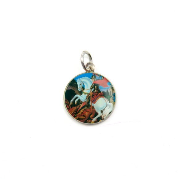 MD104229P5 - Medalha de Alumínio Redonda c/ 5un. São Jorge - 1,5x1,5cm