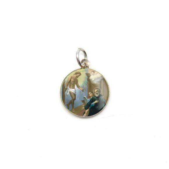 MD104238P5 - Medalha de Alumínio Redonda c/ 5un. São Peregrino - 1,5x1,5cm